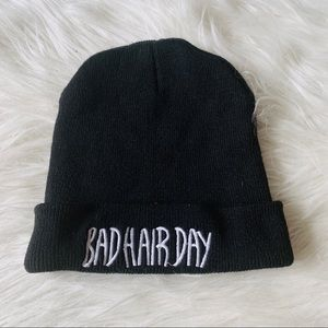 Black and white bad hair day snow winter hat
